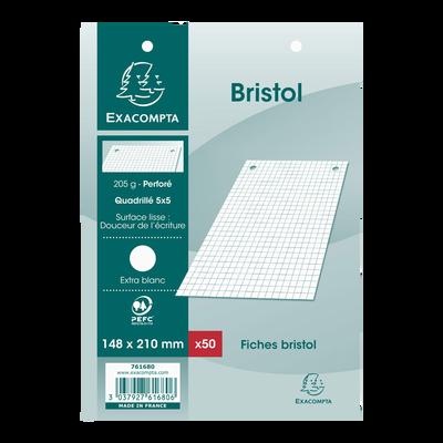 Fiches perforées BRISTOL, 12,5x20 cm, blanche, pack de 50