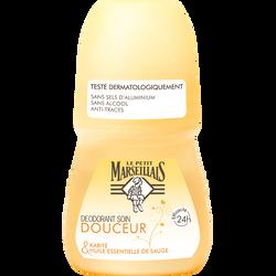 Déodorant huile essentielle sauge & karité efficacité 24h, LE PETIT MARSEILLAIS, roll-on 50ml