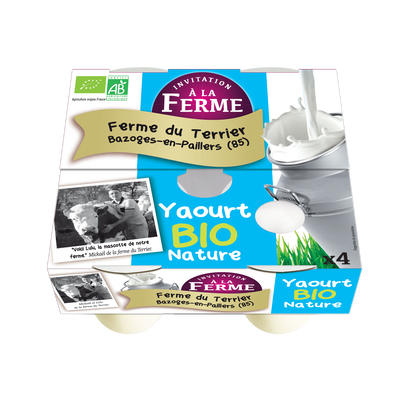 Yaourt bio Nature Fermier 4x125g FERME DU TERRIER