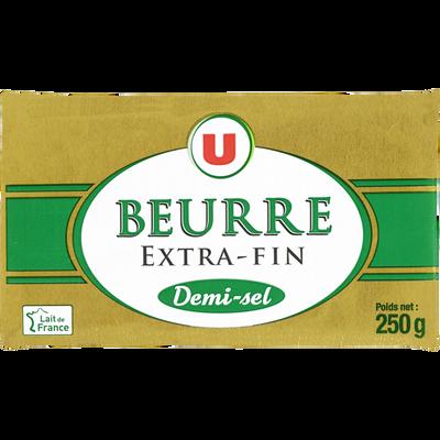 Beurre extra fin demi-sel U, 80% de MG, plaquette de 250g