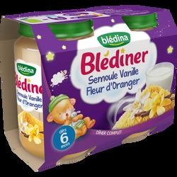 Petits pots pour bébé semoule vanille fleur d'oranger BLEDINER, dès 6mois, 2x200g