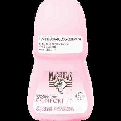 Déodorant soin confort cold cream cire d'abeille et huile essentiellepétales de rose LE PETIT MARSEILLAIS, roll-on 50ml