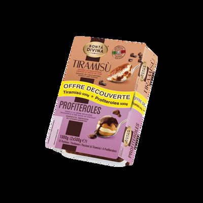 Tiramisu 500g + profiteroles 500g BONTA DIVINA, 1kg