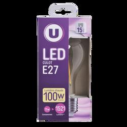 Led U, ronde, 100w, e27, transparent, lumière chaude