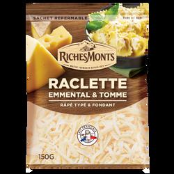 Mélange de 3 fromages râpés au lait de vache pasteurisé : raclette 70%/emmental 20%/tomme 27%mg RICHES MONTS 150g