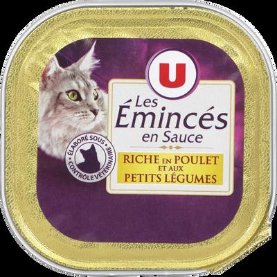 Les emincés pour chat au poulet et petits légumes U, barquette de 100g
