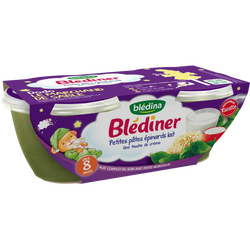 BLEDINER épinards lait petites pâtes 8 mois Blédina, 2x200g