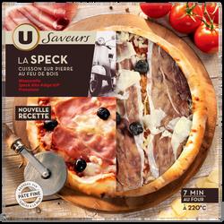 Pizza à base de mozzarella speck alto adige IGP et olives noires Saveurs U, 400g