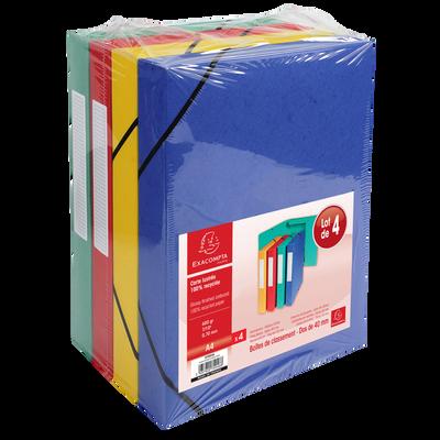 Boîte de classement, à élastique, dos 40mm, 24x32cm, 4 unités, colorisassortis