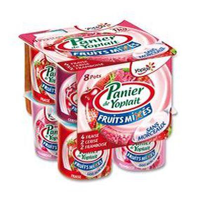 Yaourt Panier Mixés aux fruits fraise, cerise, framboise Yoplait 8x125g