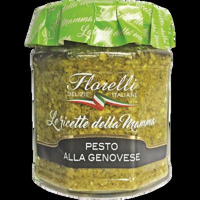 Sauce à la base de basilic, d'Huile d'Olive vierge Extra, de noix, de fromage durs et d'ail FLORELLI, 200g