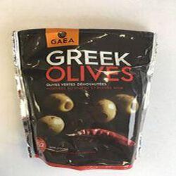 GREEK OLIVES - olives vertes dénoyautées marinées au piment et poivre noir GAEA 150G