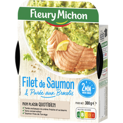 Filet de saumon atlantique purée brocolis FLEURY MICHON, 300g