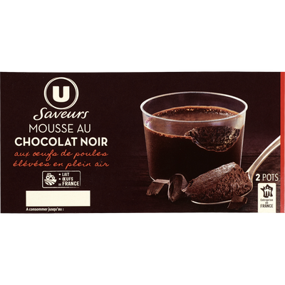 Mousse aux oeufs au chocolat noir U SAVEURS, 2x90g