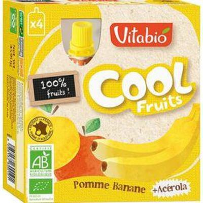 Compote Cool Fruits Pomme Banane Bio Vitabio 4 gourdes 90g