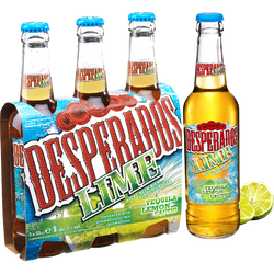 Bière arômatisée téquila Lime DESPERADOS, 3°, 3x33cl