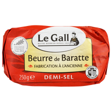 Beurre de baratte demi-sel 80%mg, fabrication ancienne LE GALL, 250g