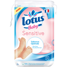 Coton carré bébé sensitive LOTUS BABY, sachet de 65