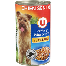 Patée+morceaux p/chien sénior volaille U boîte 3/2 1,240kg