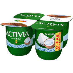 Lait fermenté sucré au bifidus saveur coco ACTIVIA, 4x125g