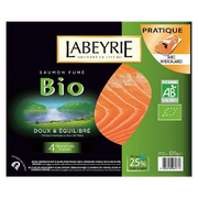 Labeyrie Saumon Fumé Atlantique Bio Labeyrie, 4 Tranches Soit 120g