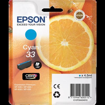 Cartouche d'encre EPSON C13T33424020 cyan Oranges, sous blister