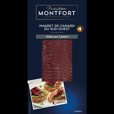 Magret canard tranché séché au 2 poivres, IGP, Maison Montfort, France, barquette 80g