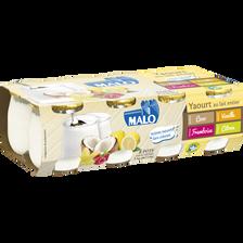 Yaourt au lait entier panachés coco, vanille, citron, framboise , MALO, 3 ,7 % de MG, x8, 1kg
