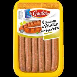 Saucisse de volailles aux herbes, LE GAULOIS, France, 6 pièces, 300g