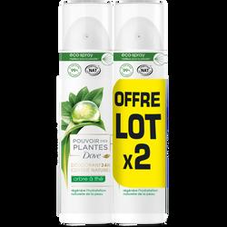 Déodorant nat.pouvoir des plantes arbre à thés femme DOVE, 2x75ml