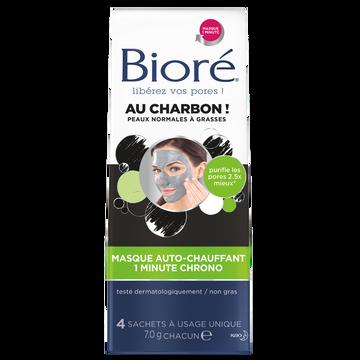 Bioré Masque Auto Chauffant Au Charbon Pour Peaux Normales À Grasses Biore,4 Sachets À Usage Unique