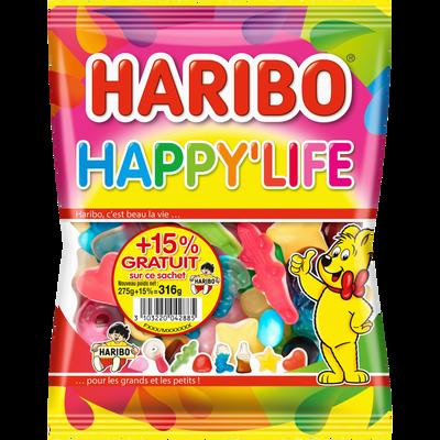 Bonbons Happy life HARIBO, sachet 275g+15% offert 317g