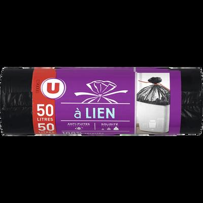 Sacs poubelle 100% recyclé lien classique U, x10, 50l