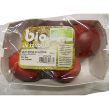 Nectarine blanche, BIO, calibre B, catégorie 2, France, barquette 4 fruits