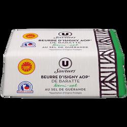 Beurre d'Isigny AOP 1/2 sel de baratte moulé U SAVEURS, 80%mg, 250g