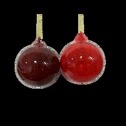 Boule de noël en verre 8cm - Rouge ou Bordeaux au choix