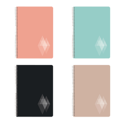 Grand cahier à reliure intégrale U, petits carreaux, 21x29,7cm, 100 pages, coloris assortis