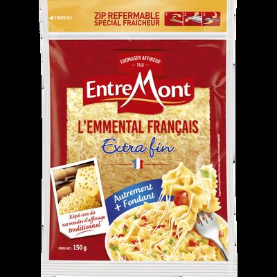 Emmental français râpé au lait pasteurisé ENTREMONT, 29%MG, 150g