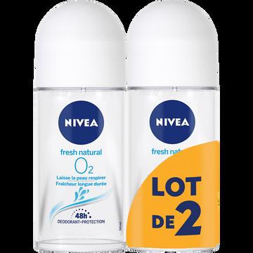 Nivea Déodorant Pour Femme Fresh Natural 0% Aluminium Nivea, 2 Billes De 50ml