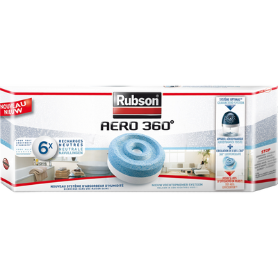 """Recharges """"Power Tabs 2 en 1"""" pour absorbeur Stop Humidité RUBSON,pack de 6"""