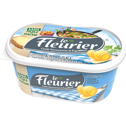 Matière grasse à tartiner demi-sel Le FLEURIER, 52% de MG, barquette de 500g
