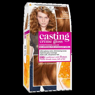 Coloration permanente CASTING Crème Gloss, miel ambré, n°734
