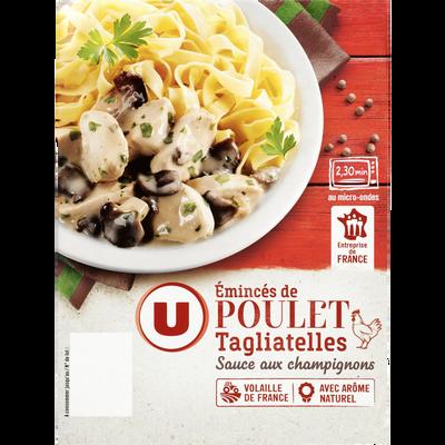 Emincés de poulet sauce champignons et tagliatelles U, barquette de  300g
