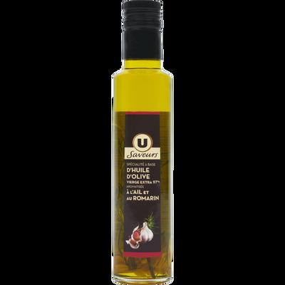 Spécialité à base d'huile d'olive vierge extra 97% aromatisée à l'Ailet au Romarin U SAVEURS, bouteille de 25cl