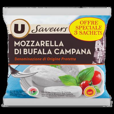 Mozzarella AOP di bufala Campana au lait pasteurisé U SAVEURS, 25% deMG, 3x125g