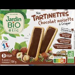 Tartinettes à croquer JARDIN BIO, Choco Noisettes, x8 Sachet fraîcheur, 138g