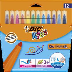 Feutres Kid Couleur XL BIC, 12 unités, couleurs assorties