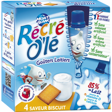 Goûters laitiers biscuits RECRE OLE, 4x85g