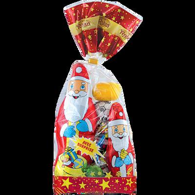 Assortiment Père Noël + attaches chocolat au lait + surprise sur alu ROHAN, sachet de 250g