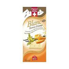 Tablette de chocolat blanc, saveur vanille aux écorces d'orange CHOCOSUISSE 100g
